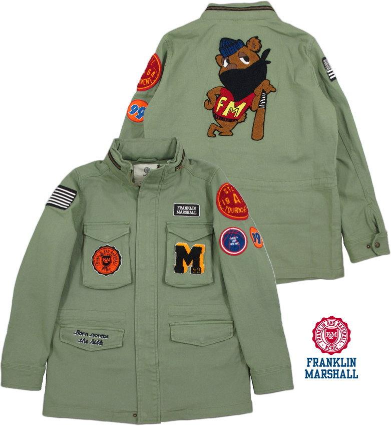 FRANKLIN&MARSHALL/フランクリンアンドマーシャル JACKET COTTON UNI LONG ワッペン付き、ストレッチ M-65ジャケット/ミリタリージャケット OLIVE GREEN(オリーブグリーン)/JKMF551ANS19