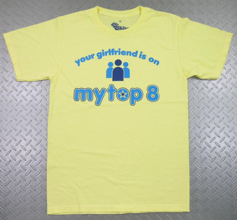"""'70~'80年代のビンテージテイストの効いたどこか懐かしい、古着風デザインのプリントTEE~★ Mr.Chips (ミスターチップス) S/S Vintage tees """"My top 8""""(半袖プリントTシャツ) レモンイエロー"""