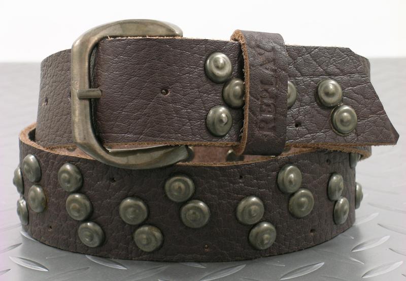 REPLAY (リプレイ) Studded Belt(スタッズベルト) チョコレートブラウン