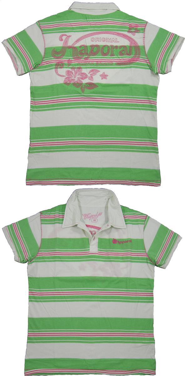 Kaporal 5 (カポラルファイブ) S/S POLO CONE(刺繍ロゴ入り、半袖ストライプ ポロシャツ) GREEN(グリーン×オフホワイト)