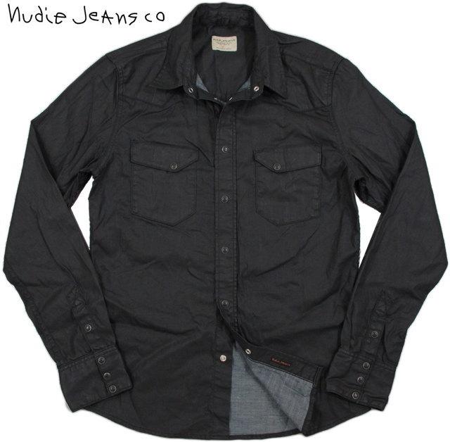 Nudie Jeans co/ヌーディージーンズ JONIS BLACK DUKE コーティングブラック・ウェスタンシャツ DENIM(コーティングブラックデニム)