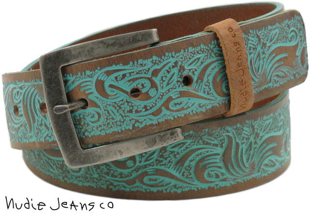 Nudie Jeans co/牛羚D牛仔裤TEOSSON BELT COLORED RELIEF选秀皮革皮带/皮革皮带BROWN(棕色)