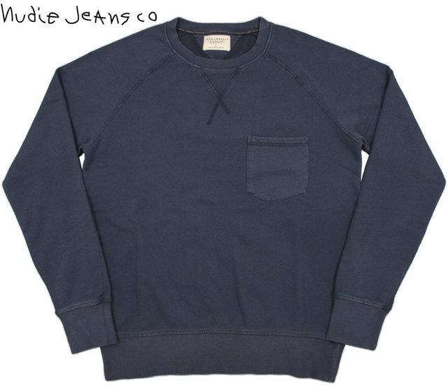 Nudie Jeans co/ヌーディージーンズ SAMUEL WASHED ポケット付きスウェットシャツ/ガゼット付きクルーネックスェット DARK BLUE(ダークブルー)