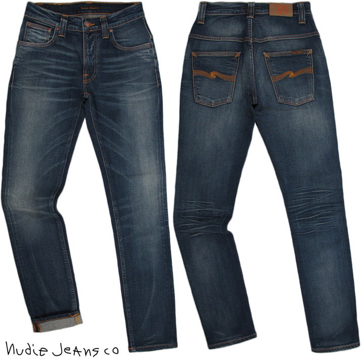 Nudie Jeans co/ヌーディージーンズTHIN FINN/シンフィン TIGHT FIT, NORMAL WAIST, LOW YOKE, NARROW LEG, OPENING ZIP FLY CLASSIC ORANGE(クラシックオレンジ) ストレッチ・スキニーデニムパンツ