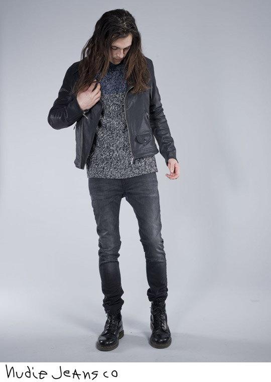 Nudie Jeans co / Nudie jeans SIXTEN PUNK JACKET coated black denim, jacket (BLACK)