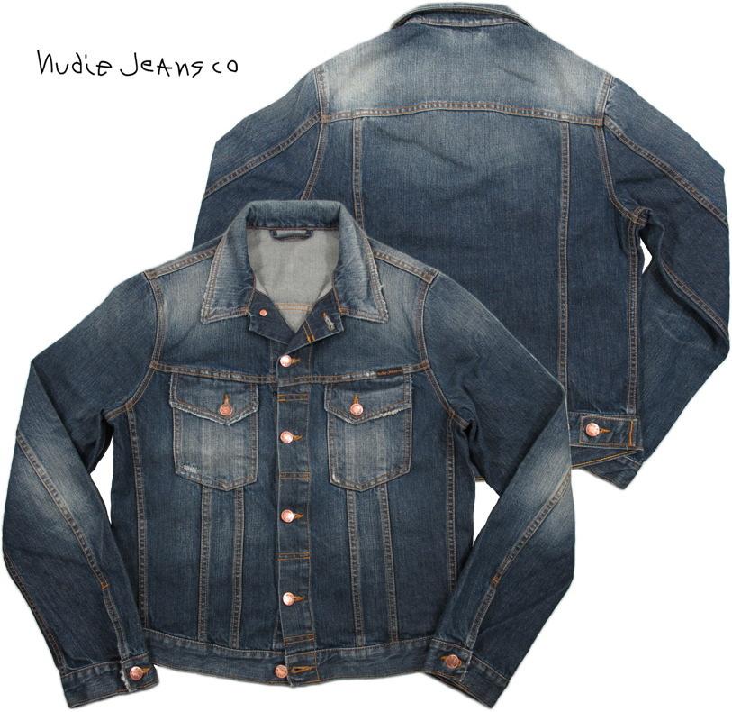 Nudie Jeans co (ヌーディージーンズ) TERRY(テリー) クラッシュ&リペア加工、デニムジャケット(ジージャン) ORGANIC CONTRAST(オーガニック、コントラスト)