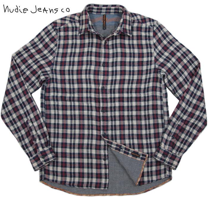 【SALE】30%OFF★Nudie Jeans co /ヌーディージーンズ ALLAN ORG. DOUBLE FACE ダブルフェイス チェックシャツ INDIGO(インディゴ)