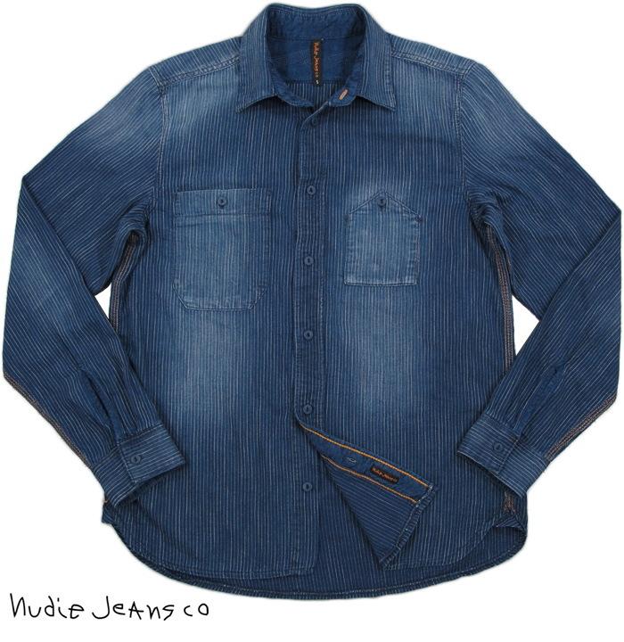 Nudie Jeans co/ヌーディージーンズ JOAKIM ORGANIC PIN STRIPED ピンストライプ、ワークシャツ INDIGO(インディゴネイビーストライプ)