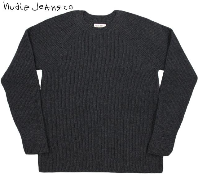 【SALE】30%OFF★Nudie Jeans co/ヌーディージーンズ ARON FULL CARDIGAN KNIT クルーネックセーター DARK GREY(ダークグレー)