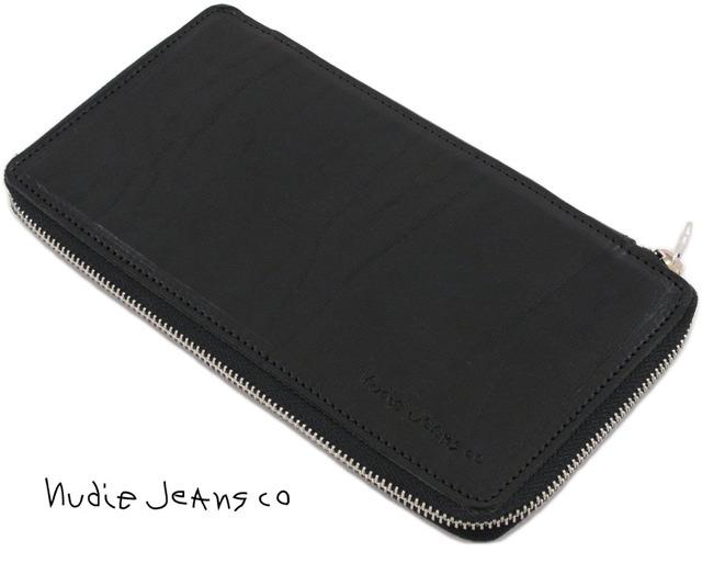 Nudie Jeans co/ヌーディージーンズ FRANKSON WALLET TRAVELトラベル ウォレット/ジップウォレット BLACK(ブラック)