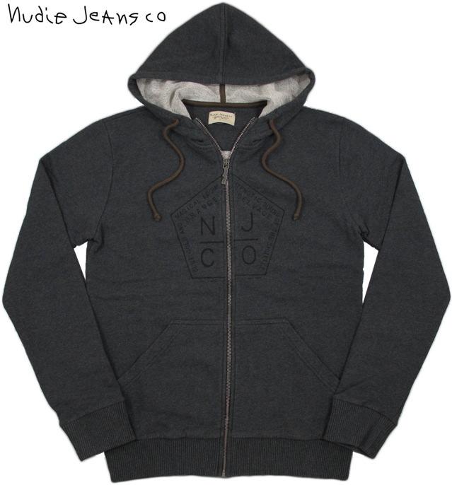 Nudie Jeans co/ヌーディージーンズ SORGARD ZIP HOOD プリント入り、フルジップ・パーカー DARK GREY(ダークグレー)