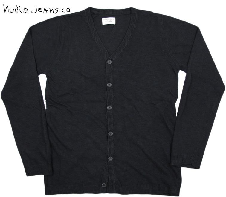Nudie Jeans co/ヌーディージーンズ BOTVID CARDIGAN 綿×麻混ニット カーディガン BLACK(ブラック)