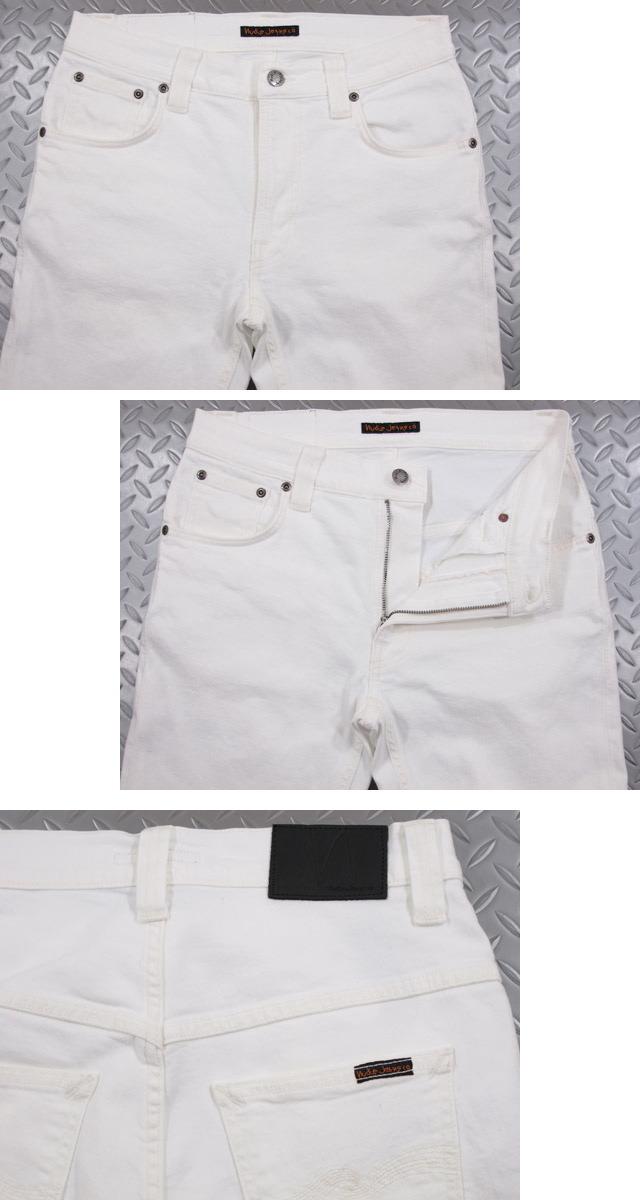 Nudie Jeans co/牛羚D牛仔裤THIN FINN/shinfin ORG.WHITE NOICE(有机,howaitonoisu)