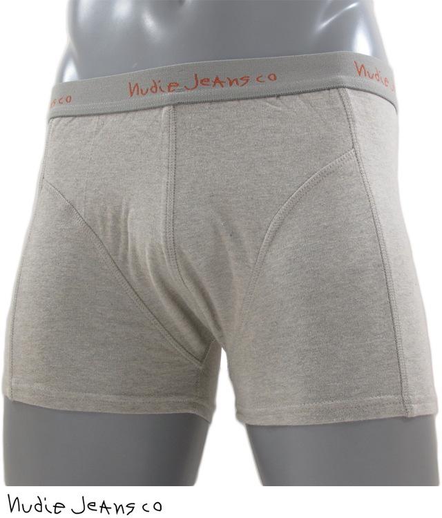 見えないおしゃれこそ粋♪ヌーディージーンズのモード感を生かしたクールなアンダーウェア Nudie Jeans co/ヌーディージーンズBOXERSNJ/U 02オーガニックコットン・ニットボクサーGREY MELANGE(グレー)
