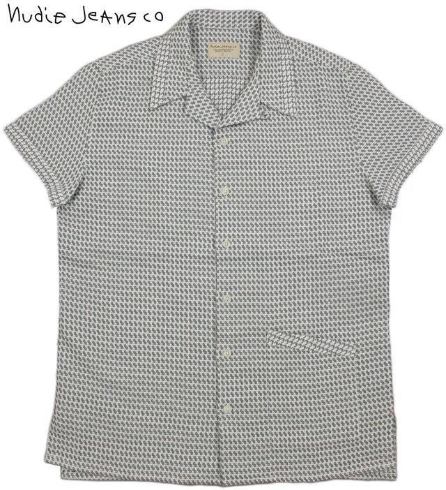 "Nudie Jeans co/ヌーディージーンズ""BYRON SMALL PATTERN"" BOWLING SHIRT ボウリングシャツ/半袖オープンカラーシャツ GREY(グレー×オフホワイト)"