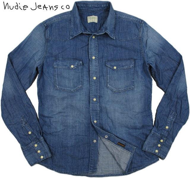 Nudie Jeans co/ヌーディージーンズ JONIS ORGANIC STEEL BLUE DENIM6オンスデニムウェスタンシャツfading indigo