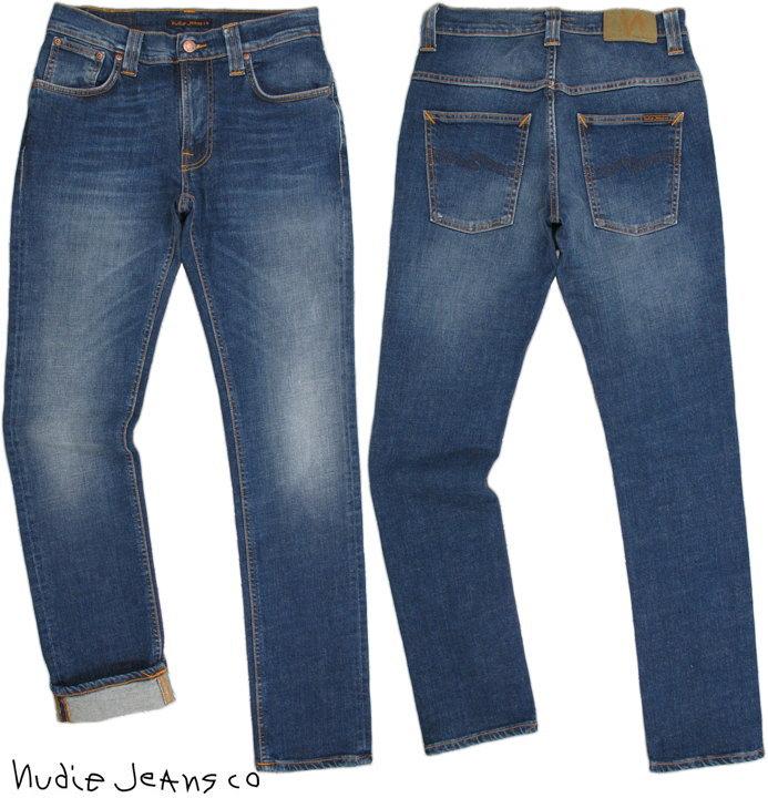 Nudie Jeans co/ヌーディージーンズTHIN FINN/シンフィン TIGHT FIT, NORMAL WAIST, LOW YOKE, NARROW LEG, OPENING ZIP FLY RAINY DARK(レイニーダーク) ストレッチ・スキニーデニムパンツ【あす楽】