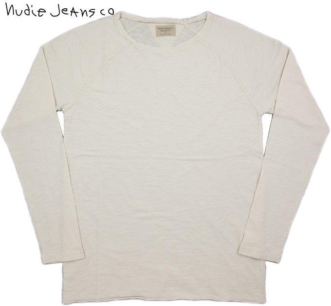 Nudie Jeans co/ヌーディージーンズOTTO RAW HEM SLUBスラブ天竺、無地ラグランカットソー/長袖無地Tシャツ ECRU(ナチュラルホワイト)