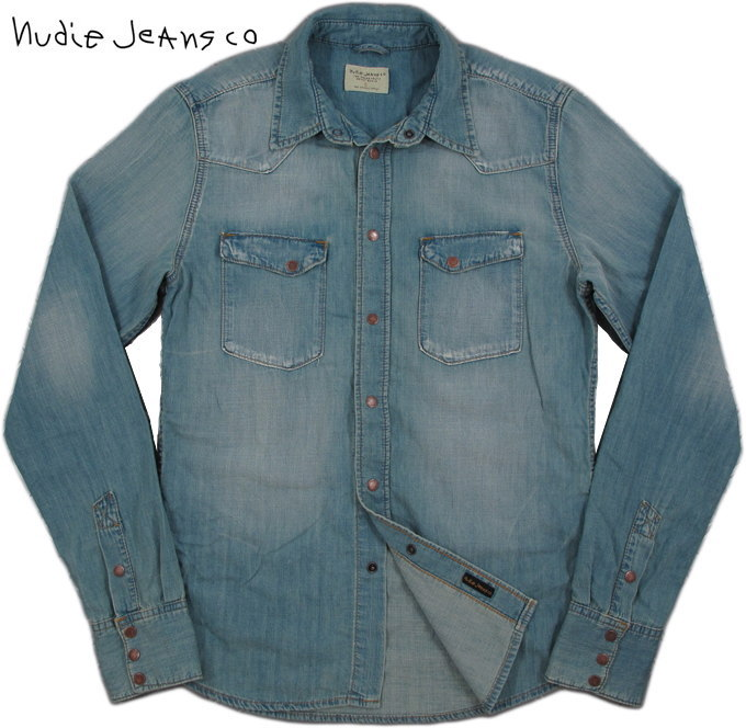 Nudie Jeans co/ヌーディージーンズ JONIS BRONSON BLUE DENIMデニムウェスタンシャツOrganic cotton REGULAR FIT