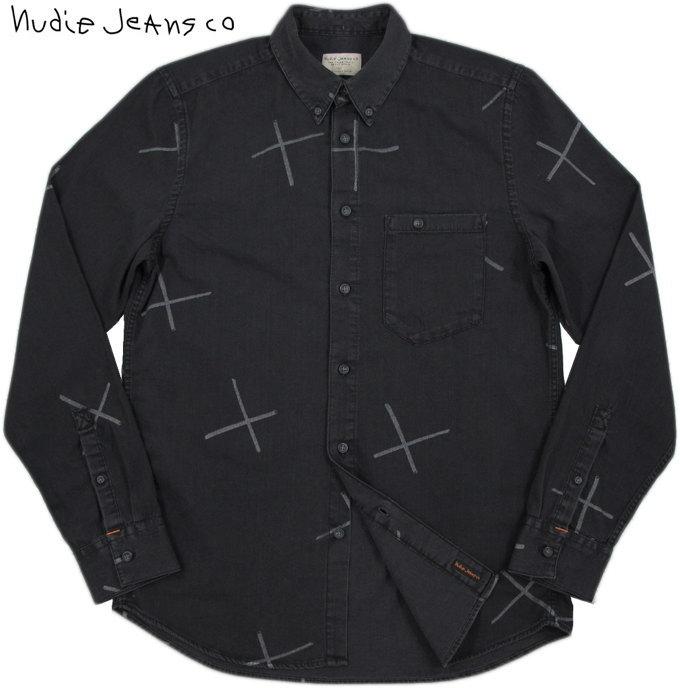 Nudie Jeans co/ヌーディージーンズ STANLEY CHALK PRINT コットンプリント ボタンダウンシャツ BLACK(ブラック)