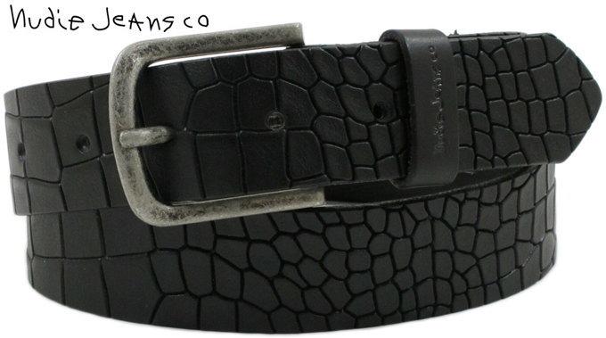 Nudie Jeans co/ヌーディージーンズ GUNNARSSON CROCO BELT クロコ型押しベルト/型押しレザーベルト BLACK(ブラック)