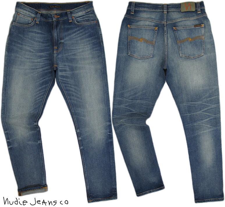 ゆとりのあるオシャレなシルエット★ロールアップして穿きたい、BRUTE KNUT/ブルートクヌート Nudie Jeans co/ヌーディージーンズBRUTE KNUT/ブルートクヌート DAKOTA BLUE(ダコタブルー) ブルートクヌート ストレッチ テーパード ジーンズ デニムパンツ アンクルパンツ