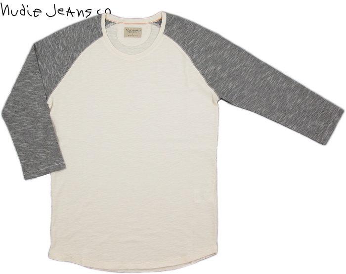 "Nudie Jeans co/ヌーディージーンズ QUARTER SLEEVE TEE""CONTRAST""7分袖ラグランカットソー/ラグランベースボールTEE OFFWHITE/BLACK(オフホワイト×ブラック)"
