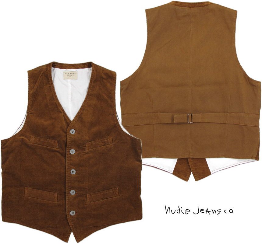 Nudie Jeans co/ヌーディージーンズ GUSTAV(グスタフ) CORD WAISTCOAT LION 11ウェル、コンフォートストレッチコーデュロイ ウェストコート・ベスト