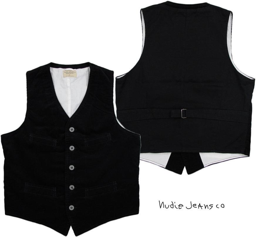 Nudie Jeans co/ヌーディージーンズ GUSTAV(グスタフ) CORD WAISTCOAT 11ウェル、コンフォートストレッチコーデュロイ ウェストコート・ベスト BLACK(ブラック)