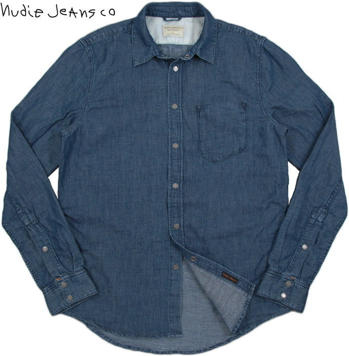 Nudie Jeans co/ヌーディージーンズ HENRY LINEN BLEND INDIGO/リネンブレンド・インディゴ 7.75オンス・デニムシャツ/スナップボタンデニムシャツOrganic cotton blended with linen REGULAR FIT