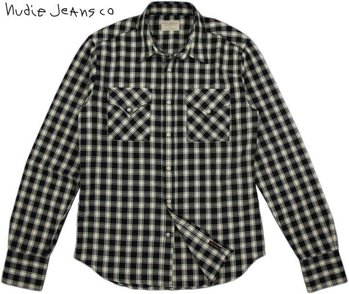 Nudie Jeans co/ヌーディージーンズ JONIS WESTERN HERRINGBONE ヘリンボーンチェック ウェスタンシャツ BLACK/SAND(ブラック×サンドベージュ)