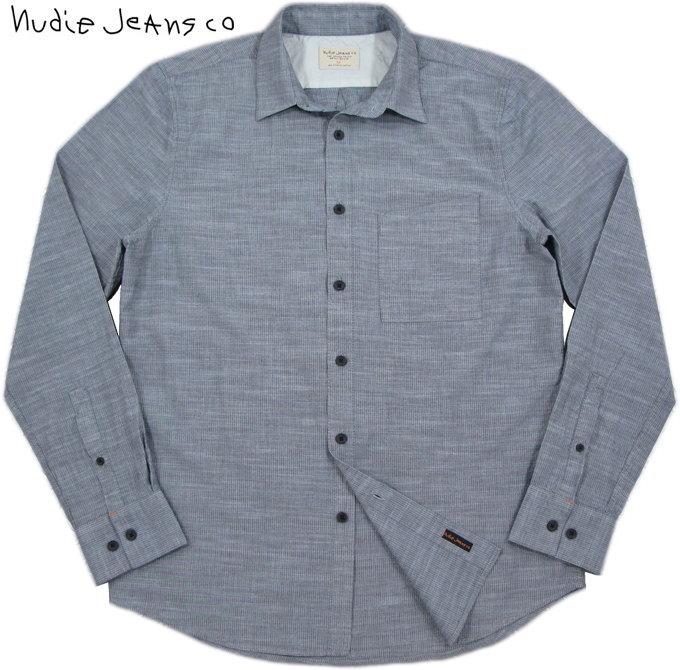 Nudie Jeans co/ヌーディージーンズ STANLEY MELANGE STRIPE ピンストライプ・コットンレギュラーフィットシャツ INDIGO(インディゴ)