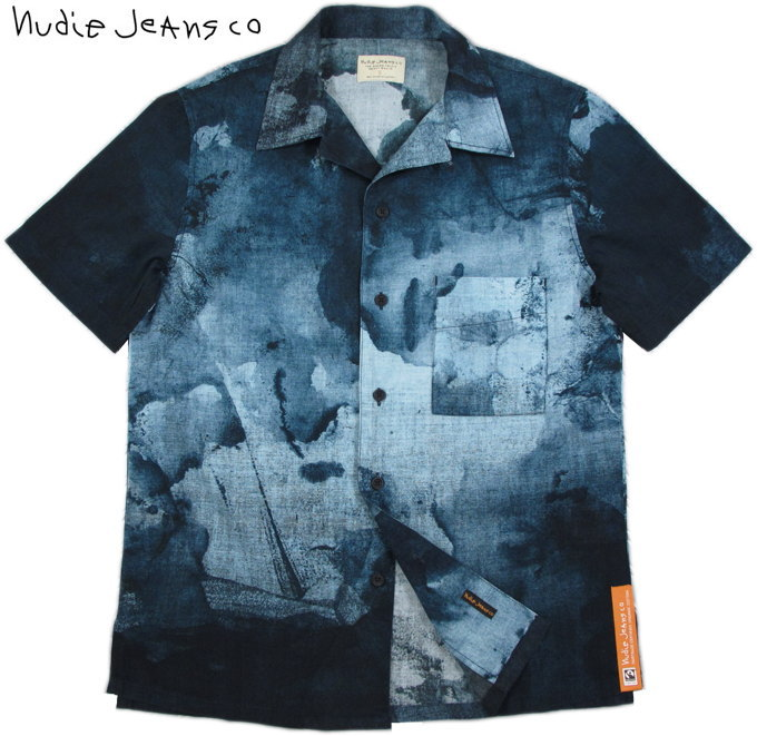 Nudie Jeans co/ヌーディージーンズ BRANDON SMUDGE PRINT 半袖プリントオープンシャツ/アロハシャツ BLACK/BLUE(ブラック×ブルー)
