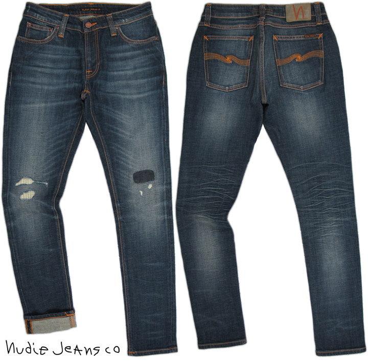 Nudie Jeans co/ヌーディージーンズSKINNY LIN(スキニーリン) 11oz. power stretch denim SAM REPLICA(サムレプリカ)/クラッシュ&リペアジーンズ