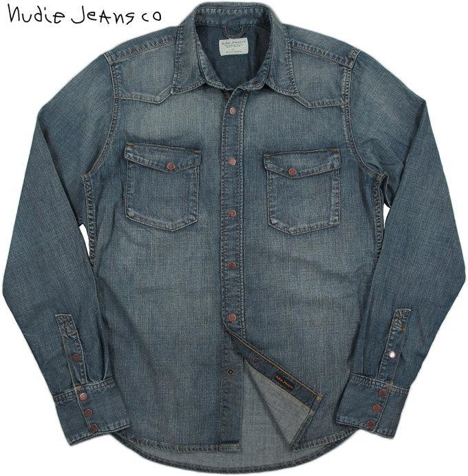Nudie Jeans co/ヌーディージーンズ JONIS SHIMMERING DENIM/シマリングデニム デニムウェスタンシャツOrganic cotton REGULAR FIT