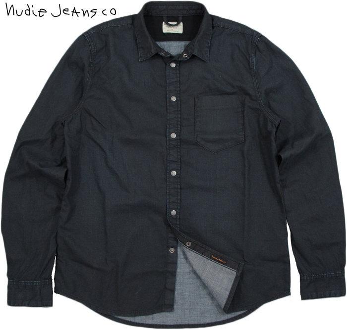 Nudie Jeans co/ヌーディージーンズ HENRY DEEP BLUE BLACK DENIM/ディープブルーブラックデニム デニムシャツ/スナップボタンデニムシャツOrganic cotton REGULAR FIT