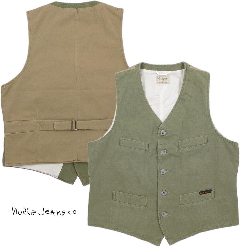 Nudie Jeans co/ヌーディージーンズ GUSTAV(グスタフ) FINE CANVAS ファインキャンバス・ウェストコート・ベスト・ジレ BEECH GREEN(ライトオリーブ)