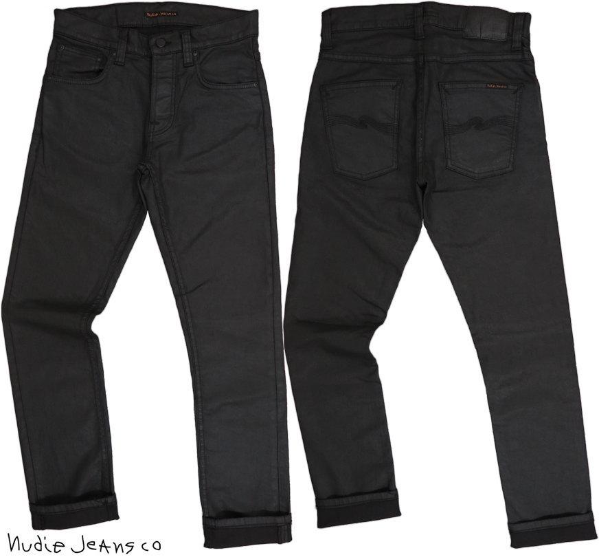 Nudie Jeans co/ヌーディージーンズ GRIM TIM(グリムティム)straight slim fit with normal rise DRY BLACK MIND(ドライ ブラック マインド)/コーティングブラックジーンズ