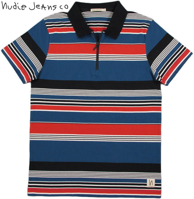 Nudie Jeans co/ヌーディージーンズ MIKAEL MULTI STRIPE ZIPPER マルチボーダー・ジップアップポロシャツ/ボーダーポロ BLUE×RED×BLACK(ブルー×レッド×ブラック)
