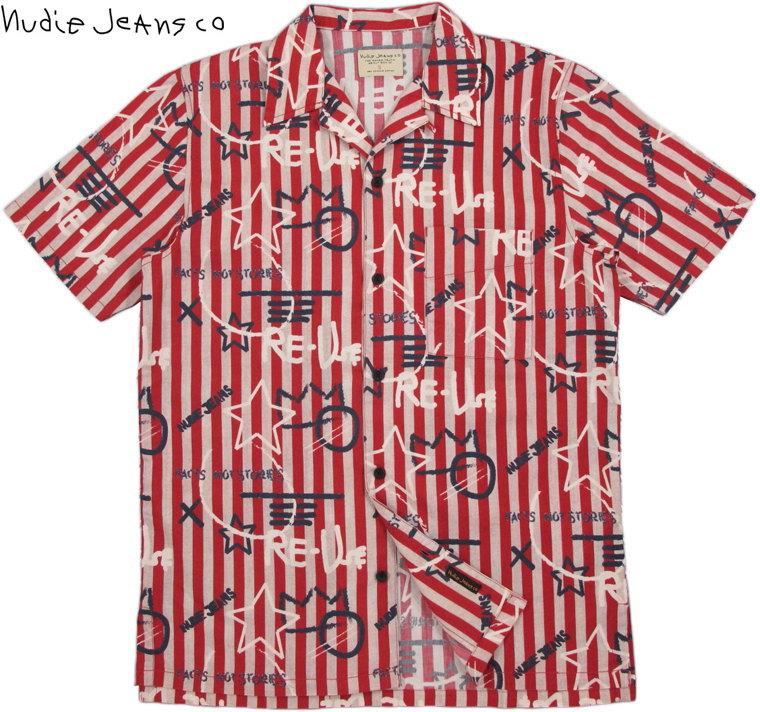 Nudie Jeans co/ヌーディージーンズ BRANDON GRAFFITI STRIPE 半袖オープンシャツ/コットンアロハシャツ KETCHUP(ケチャップ)
