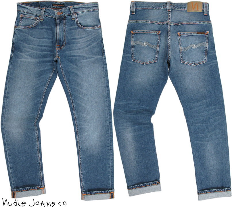 Nudie Jeans co/ヌーディージーンズTHIN FINN/シンフィン TIGHT FIT, NORMAL WAIST, LOW YOKE, NARROW LEG, OPENING ZIP FLY MID BLUE ECRU(ミッドブルーエクリュ) スキニージーンズ/デニムパンツ