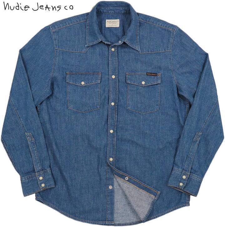 素材と加工にこだわった風合いのよさは格別★クールでスタイリッシュな、ヌーディーのウェスタンシャツ!  Nudie Jeans/ヌーディージーンズ GEORGE SNAP OUT OF TT DENIM Regular fit shirt made in organic cotton. デニムウェスタン/ウェスタンデニムシャツ
