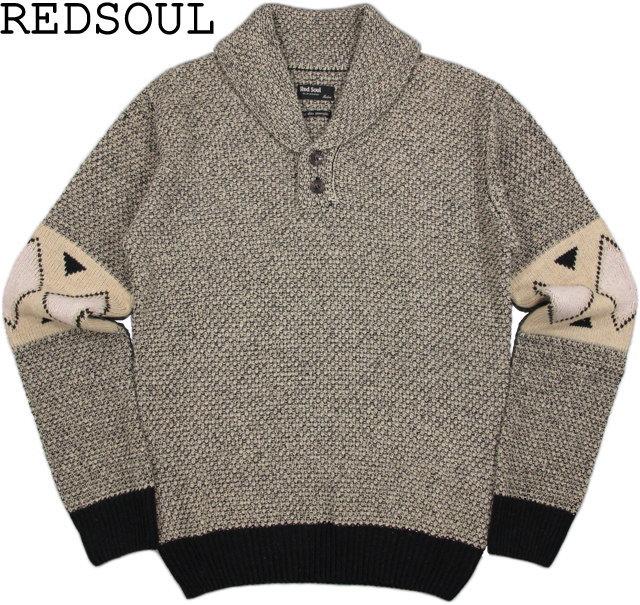 【SALE】30%OFF★RED SOUL/レッドソウルMRDS308F Pull/SHAWL COLLAR KNIT SWEATERへちま衿セーター/ショールカラーセーターFevrier gris(ベージュ×ブラック)