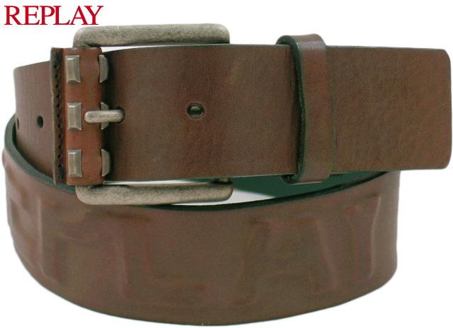 REPLAY/リプレイ AM2122 Leather Belt/レザーベルト BROWN(ブラウン)