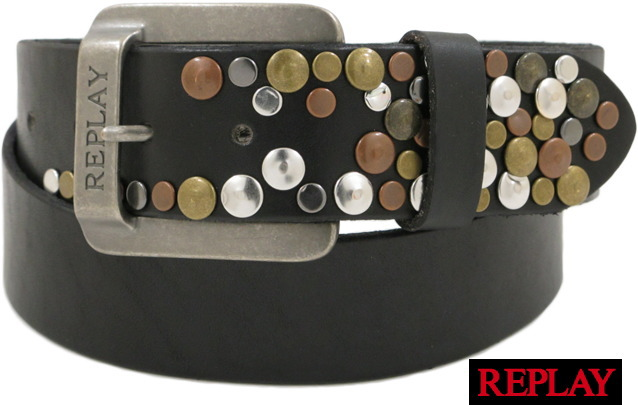 REPLAY(リプレイ) AX2114 Studded Belt(スタッズベルト) BLACK(ブラック) 【YDKG-tk】【toukai1】【smtb-tk】