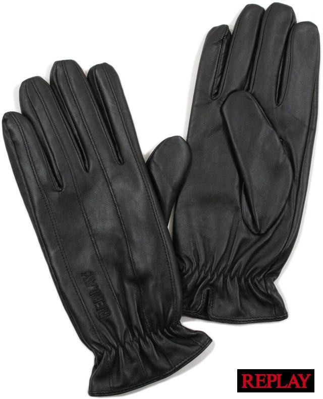 AM6015 BLACK(ブラック) REPLAY(リプレイ) 【YDKG-tk】【toukai1】【smtb-tk】 GLOVES(刺繍ロゴ入り、レザーグローブ)