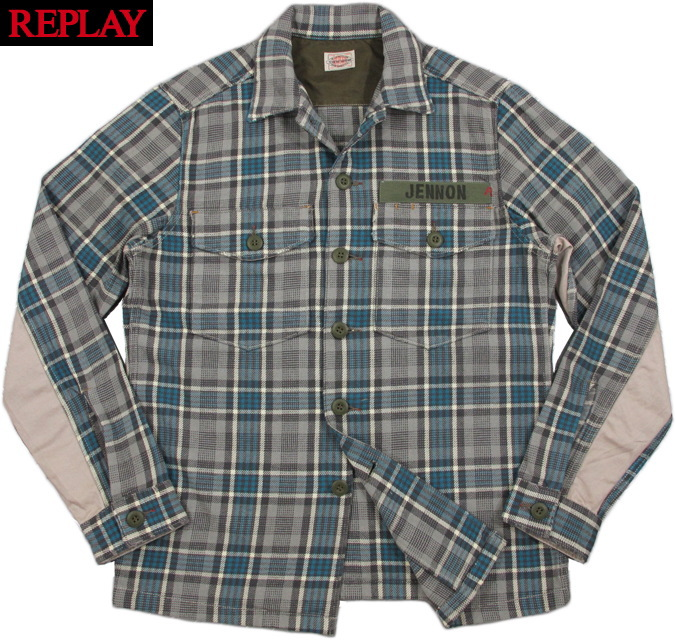 【SALE】40%OFF★REPLAY/リプレイ M4864 CHECK MILITALY SHIRT JACKET チェック、ミリタリーシャツジャケット BLUE/GREY(ブルー×グレー)