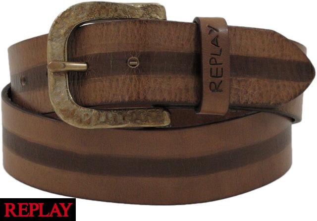 REPLAY /リプレイ AM2267 Leather Belt / レザーベルト Brown(ブラウン)