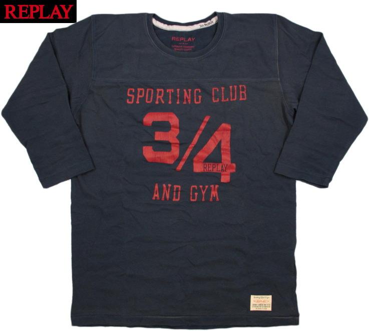REPLAY(リプレイ) M6058 3/4 SLEEVE CUTSEW (プリント入り、7分袖 Tシャツ) A.NAVY(アンティークネイビー)