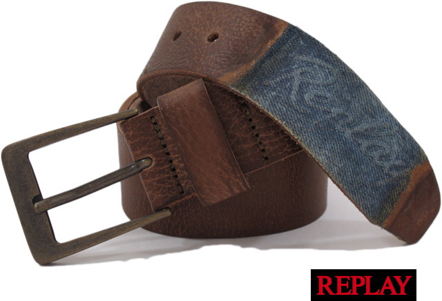 REPLAY(リプレイ) AM2234 Leather Belt ロゴマーク入り、レザーベルト Chocolate Brown(チョコレートブラウン)
